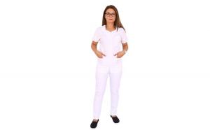 Costum medical alb cu bluza cu fermoar cambrata, trei buzunare aplicate si pantaloni alb cu elastic