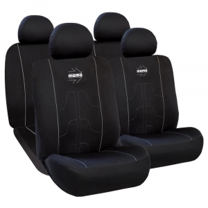 Huse Scaune Auto SEAT LEON ( 1999-2010)  Momo Negru-Gri, pentru bancheta rabatabila, 11 bucati