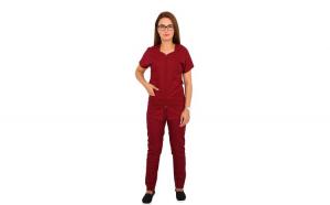 Costum medical grena cu bluza cu fermoar cambrata, trei buzunare aplicate si pantaloni grena cu elastic