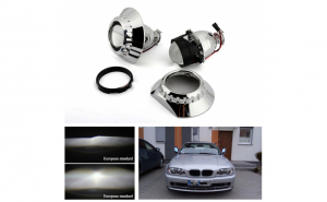 "Kit 2 lupe far 2.5 "" H1 + Angel Eyes CCFL BMW Seria 3 E46 1998-2005 - far fara lupa (pachet complet)"
