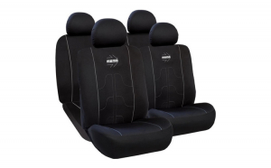 Huse Scaune Auto SEAT IBIZA ( 2000-2010)  Momo Negru-Gri, pentru bancheta rabatabila, 11 bucati