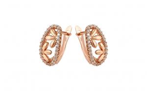 Cercei placati cu aur rose, cu pietre zirconiu, model Melania