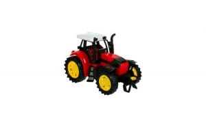 Tractor agricol de jucarie, rosu/galben, 15x9x10.5 cm