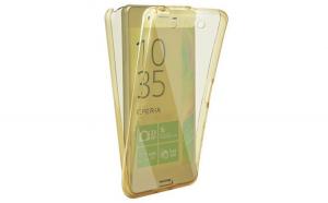 Husa Full TPU 360 (fata   spate) pentru Sony Xperia XA  Gold transparent