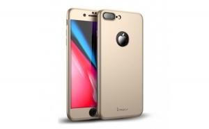 Husa Apple iPhone 8 Plus IPAKY Full Cover 360 Auriu + Folie Cadou