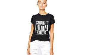 Tricou dama negru - Straight Outta Rahova