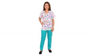 Costum medical Kitty, cu bluza cu imprimeu si pantaloni verzi cu elastic