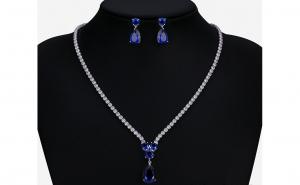 Set bijuterii Anebris Glamour Blue,Colier si Cercei