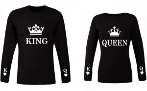 Set de bluze negre pentru cupluri King si Queen CROWN