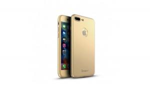 Husa Apple iPhone 7 Plus IPAKY Full Cover 360 Auriu + Folie Cadou