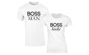 Set de tricouri albe Boss Man/Lady COD SA102