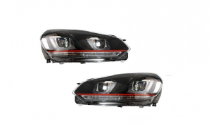 Set 2 faruri LED, compatibil cu VW Golf 6 VI (2008-up) Golf 7 U Design With Red Strip GTI semnal LED dinamic
