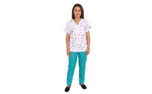 Costum medical Ladybug, bluza cu imprimeu si pantaloni verzi cu elastic
