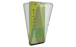 Husa Full TPU 360 (fata   spate) pentru Sony Xperia Z5  Gri transparent