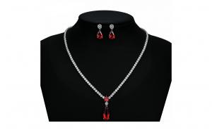 Set bijuterii Anebris Princess Red,Colier si Cercei