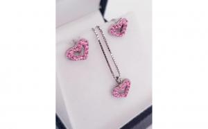 Set din Argint cu Zirconii roz - model inima