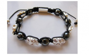 Bratara Shamballa Mens SkullBead black and white, la 33 RON in loc de 85 RON