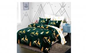 Lenjerie pentru pat dublu cu doua fete, din finet de calitate superioara, 6 piese