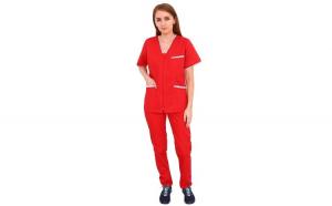 Costum medical Dots, cu bluza si pantaloni rosii cu elastic