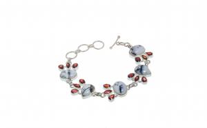 Bratara din argint, opal dendritic si granat, lungime 21.5 cm
