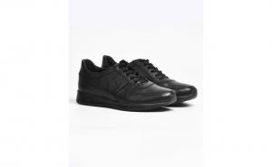Pantofi sport casual din piele naturala neagra cu sireturi, pentru barbati SPB54180