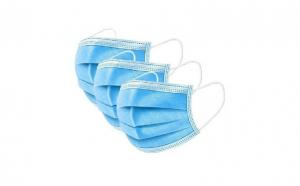 Set 50 bucati Masti faciale cu elastic, de unica folosinta, nesterile, 3 pliuri si 3 straturi, Albastre