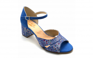 Sandale dama vdm031 din piele naturala albastra cu imprimeu
