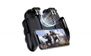 Gamepad Telefon mobil BattleGrounds cu Trigger Dublu, extensibil, ventilator incorporat, compatibil cu  PUBG / Fortnite, Kickcstand Telefon, Negru