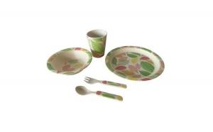 Set mic dejun copii, Grunberg, 5 piese, bambus, frunze