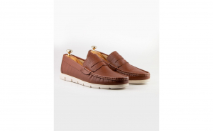 Pantofi loafer casual maro deschis din piele naturala cu talpa extra comfy SPB84551