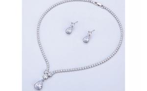 Set bijuterii Anebris Glamour White,Colier si Cercei