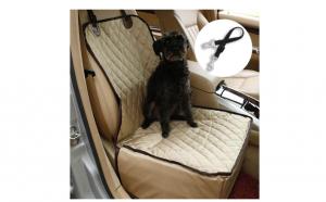 Husa de protectie scaun auto fata pentru caini, pisici si alte animale de comapnie, beige