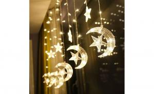 Instalatie Craciun exterior, perdea, Luna si stele lumina calda