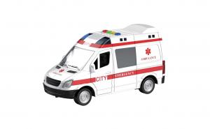 Masina Ambulanta cu lumini si sunete, alba cu rosu de dimensiunea 27 x 12 x 17 cm , ATS