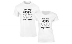 Set de tricouri albe This girl/boy COD
