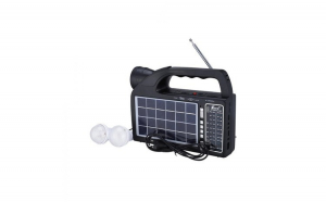 Set Radio Portabil AM/FM/SW1-2 4 Benzi cu Incarcare Solara, Lanterna si Bec Atasabil, USB/SD/TF Card si Bluetooth, Fepe FP-1822ULS-BT, Negru si Adaptor Priza Centenar