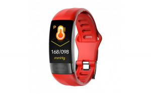 Bratara Fitness Techstar® P11 Rosu  ECG  Puls  Oxigenarea Sangelui  Temperatura Corpului  Bluetooth  Sedentarism  Alerte