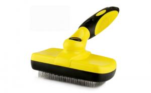 Perie cu auto-curatare pentru caini, pisici si alte animale de companie, galben cu negru