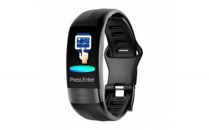 Bratara Fitness Techstar® P11 Negru  ECG  Puls  Oxigenarea Sangelui  Temperatura Corpului  Bluetooth  Sedentarism  Alerte