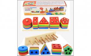 Set de cinci coloane geometrice colorate interactive