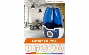Umidificator de aer cu ultrasunete Camry CR 7956, 5.8 l, Ionizare, Timer, 25m2, 17 h, Alb-albastru