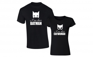 "Set de tricouri ""I'm her Batman/ I'm his Catwoman"""