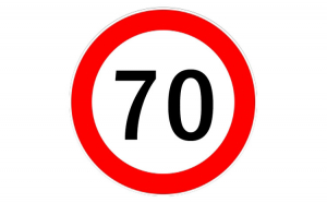 Autocolant limitator viteza 70km/h -