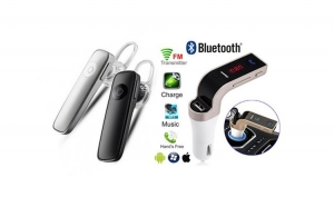 Casca Bluetooth model 2018 + Modulator FM auto MP3 Bluetooth