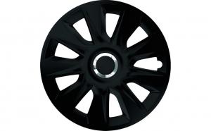 Set capace roti 14` negre cu inel cromat stratos
