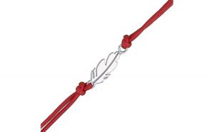 Bratara argint 925 cu snur rosu pana