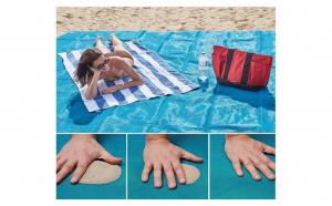 Rogojina-plasa de plaja anti nisip - albastru 200 x 150 cm