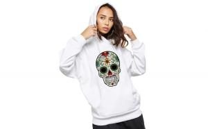 Hanorac dama alb - Sugar Skull Colorful