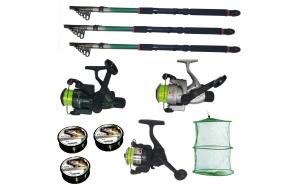 Set pescuit cu 3 lansete de 2.4m , 3 mulinete, 3 fire Cool Angel si juvelnic