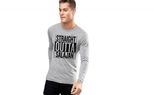 Bluza barbati gri cu text negru - Straight Outta Salajan